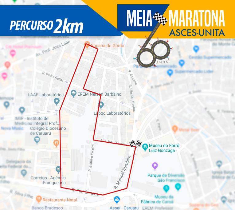 Conheça o percurso da meia maratona Asces-Unita