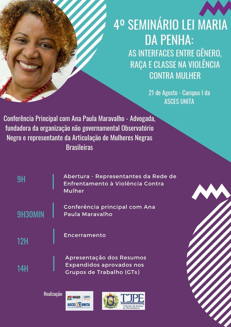 4º Seminário Lei Maria da Penha será realizado na Asces-Unita