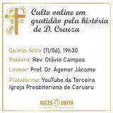 Culto online em gratidão pela história de D. Creuza será realizado nesta quinta (11)