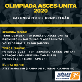 Olimpíada Asces-Unita divulga calendário de competições