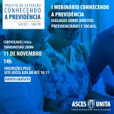 """Projeto de extensão """"Conhecendo a Previdência"""" realizará webinário"""