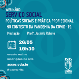 O curso de Serviço Social promove webinário no próximo dia 26 de maio