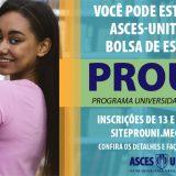 Seleção para o Prouni começa na terça-feira(13) bolsas na Asces-Unita são 100% gratuitas
